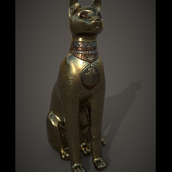 Gold Cat Statue - Rendered