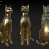 Gold Cat Statue - Turn around