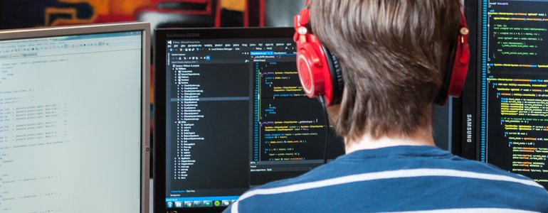 A programmer deep in code