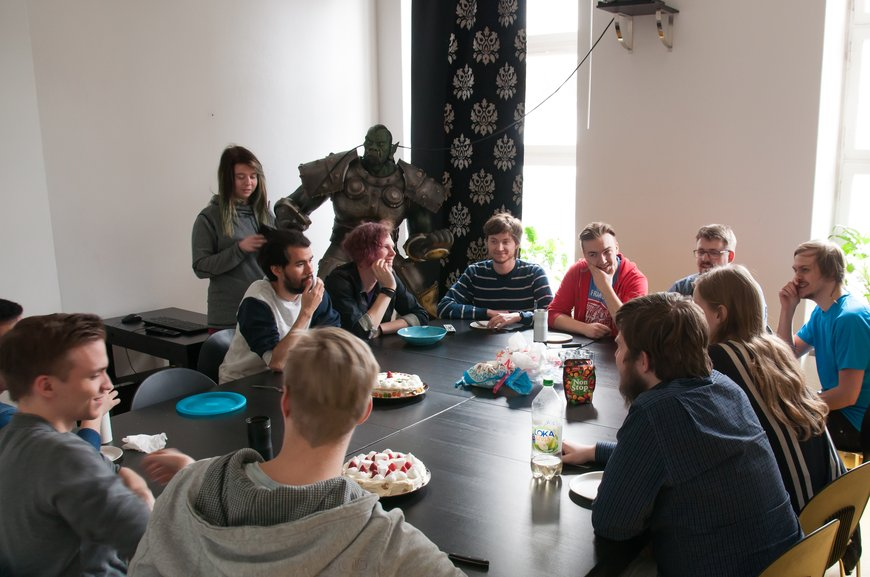 Students having fika